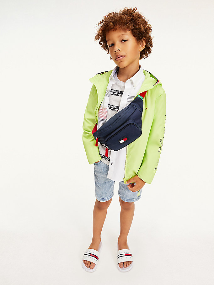green essential logo hooded jacket for boys tommy hilfiger