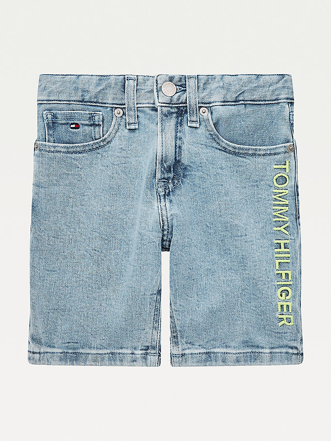 shorts spencer in denim con logo ricamato denim da boys tommy hilfiger