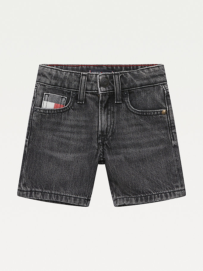 denim th modern straight zwarte denim short voor boys - tommy hilfiger