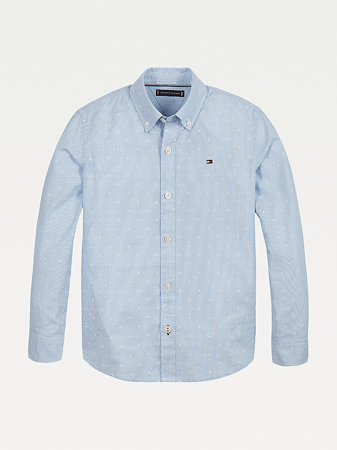 blue dobby spot organic cotton shirt for boys tommy hilfiger