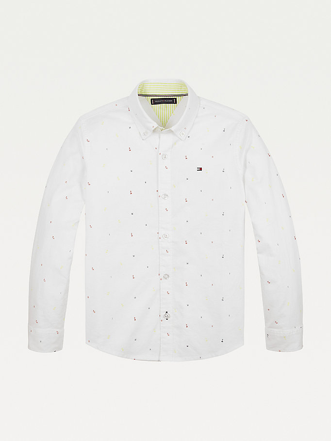 white micro flag and letter embroidery shirt for boys tommy hilfiger