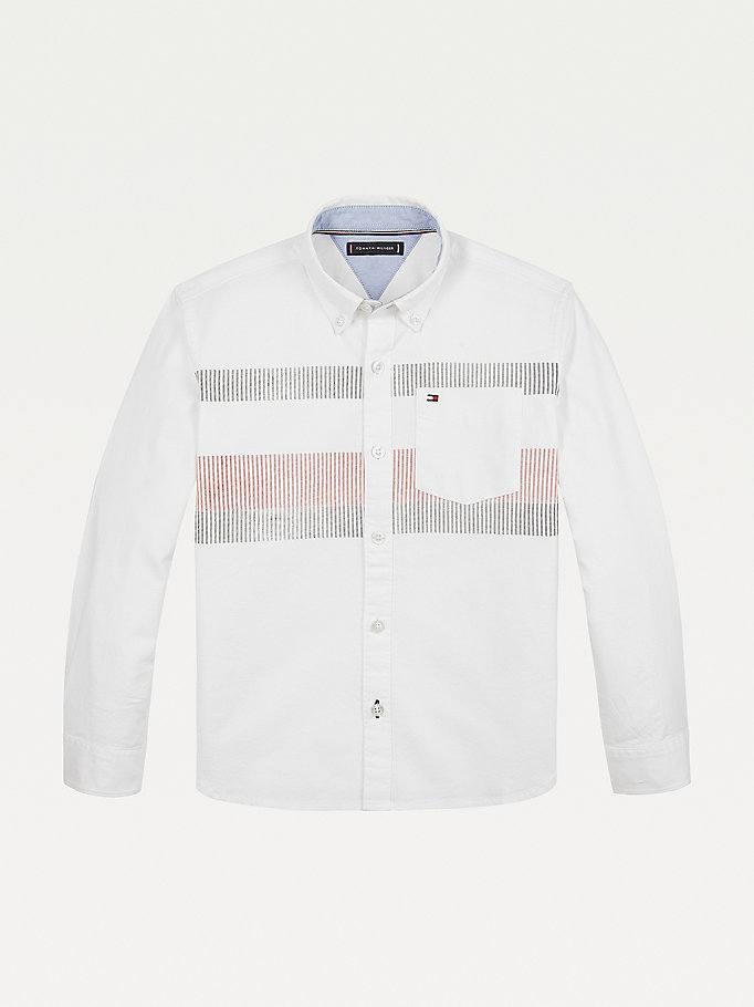 white stripe detail organic cotton oxford shirt for boys tommy hilfiger