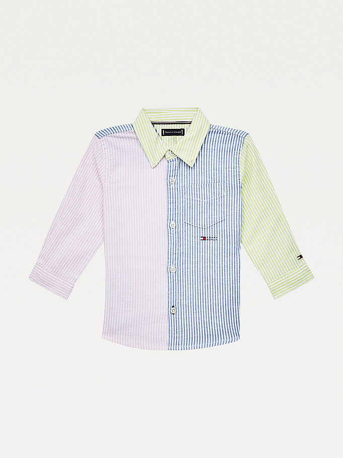 blue ithaca stripe stretch organic cotton shirt for boys tommy hilfiger
