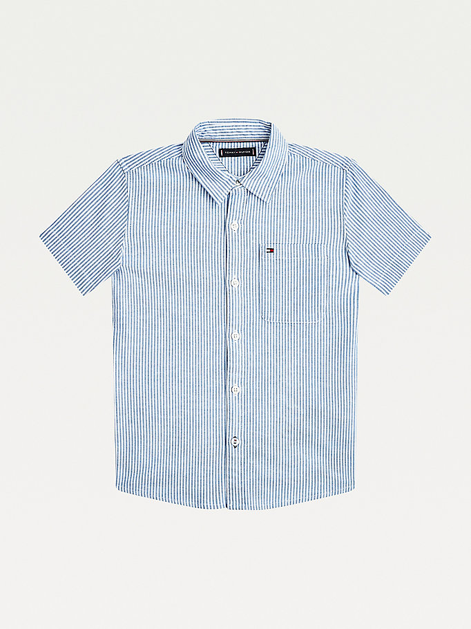 camicia in cotone oxford a righe ithaca blu da boys tommy hilfiger