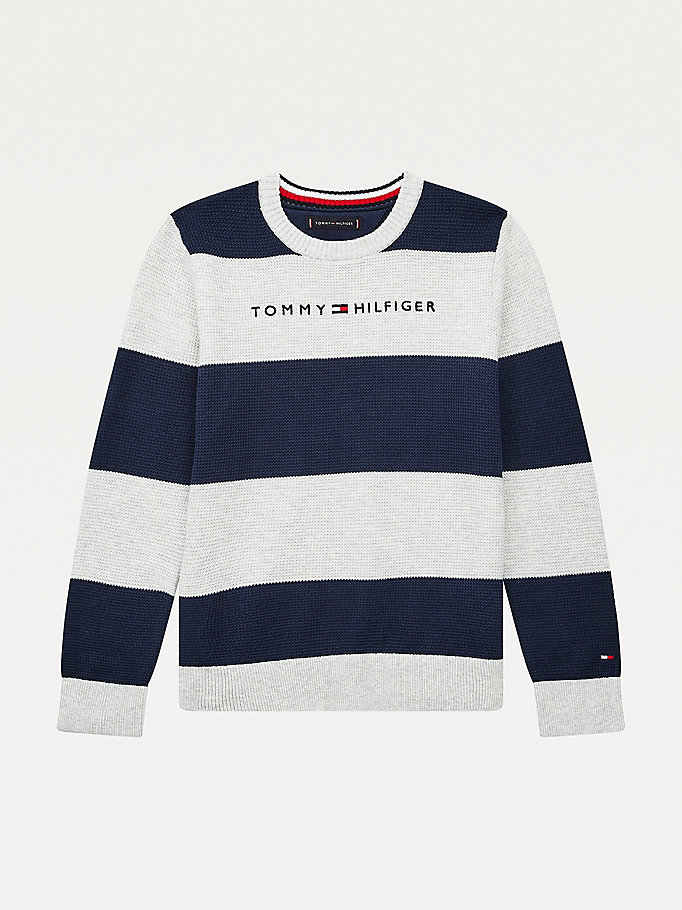 blue horizontal stripe logo embroidery jumper for boys tommy hilfiger