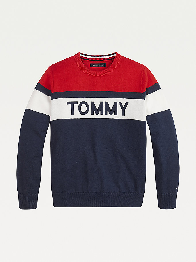 blue colour-blocked pure organic cotton jumper for boys tommy hilfiger