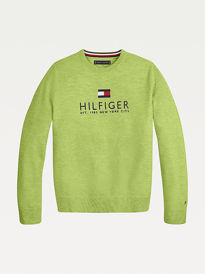 green organic cotton logo embroidery jumper for boys tommy hilfiger