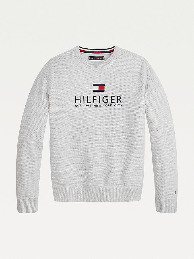 grey organic cotton logo embroidery jumper for boys tommy hilfiger