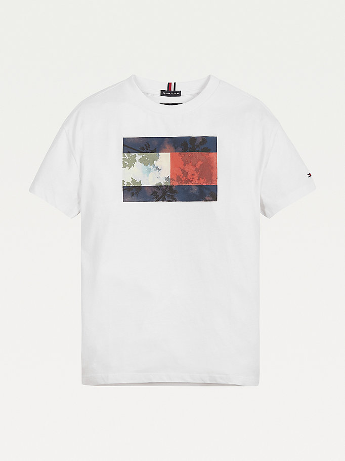 white palm photo print organic cotton t-shirt for boys tommy hilfiger