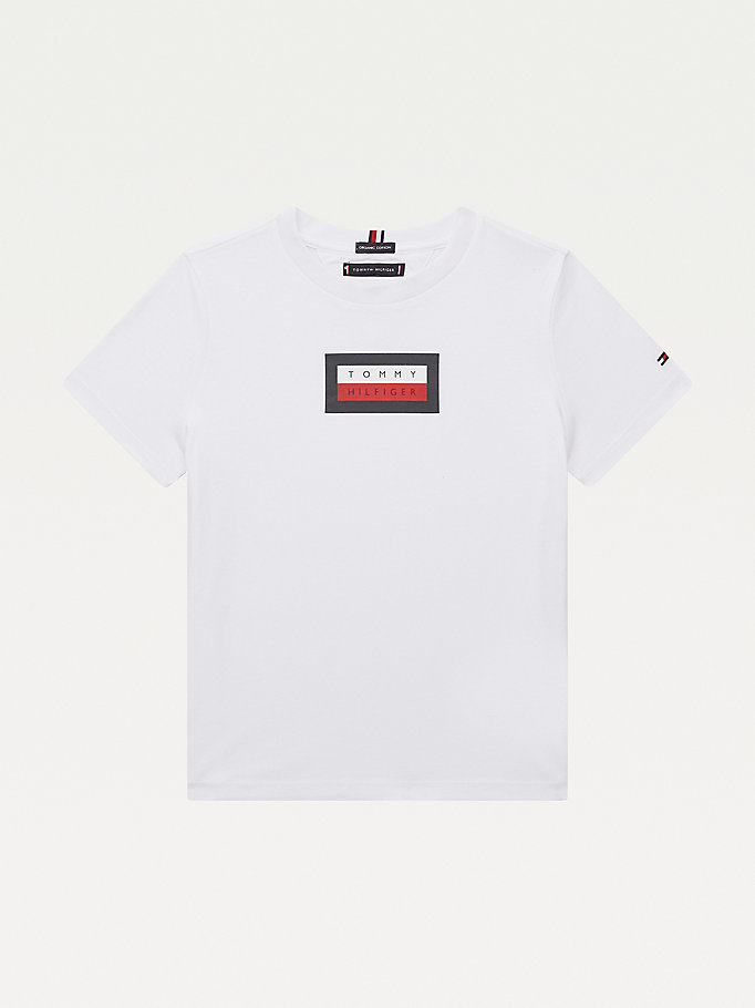 white organic cotton logo t-shirt for boys tommy hilfiger