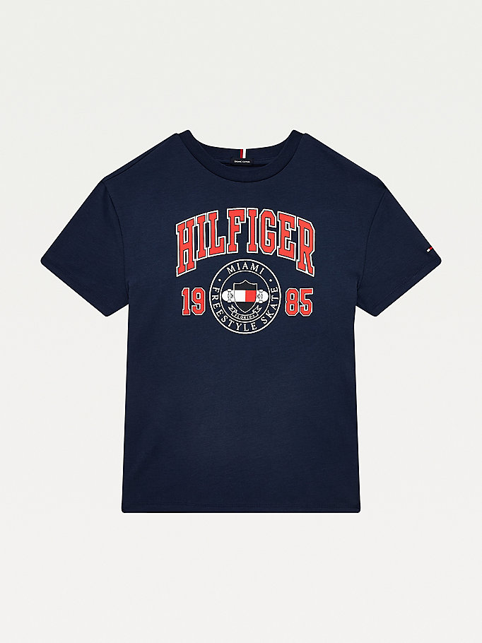 blue contrast collar organic cotton t-shirt for boys tommy hilfiger