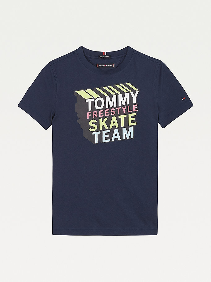 t-shirt th cool à logo skateur bleu pour boys tommy hilfiger
