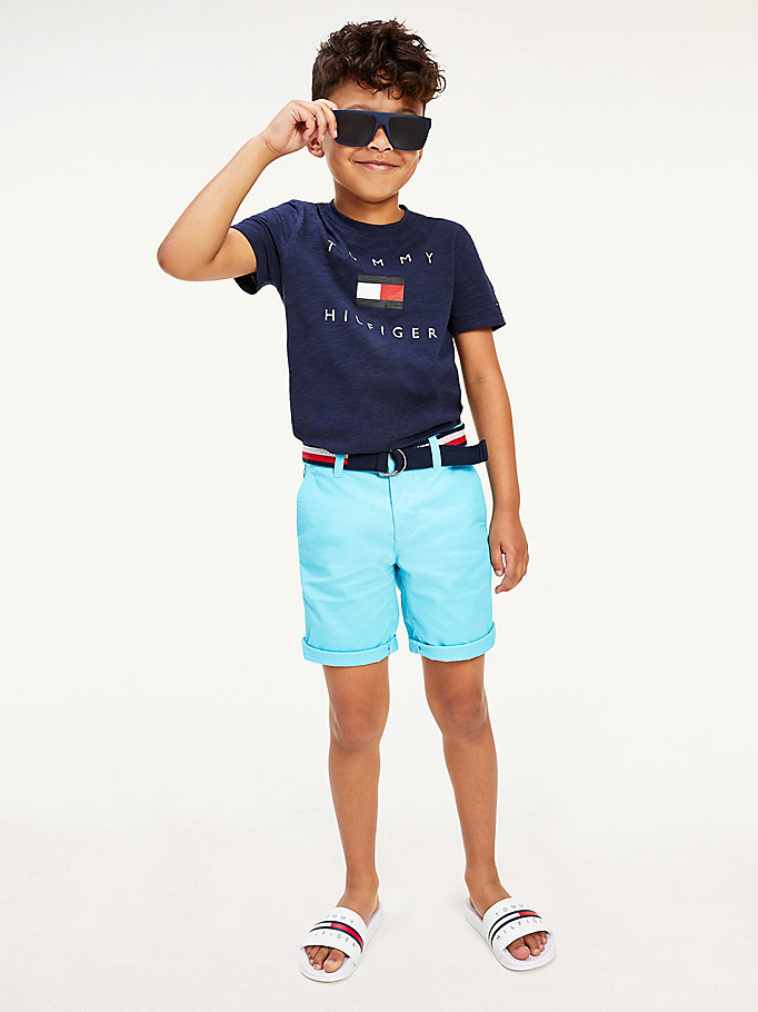 blue pure organic cotton logo t-shirt for boys tommy hilfiger