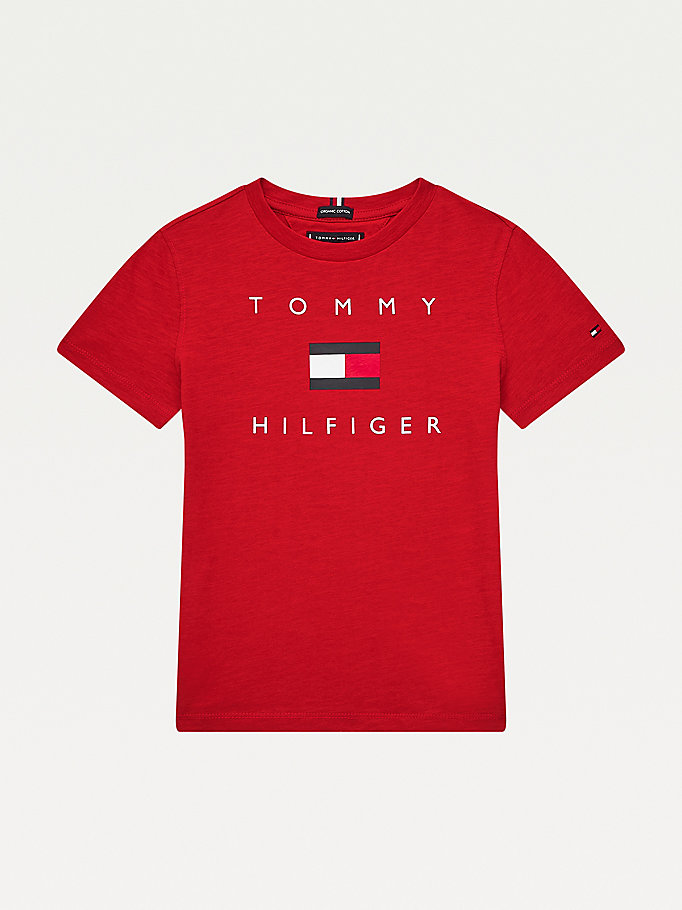 red pure organic cotton logo t-shirt for boys tommy hilfiger