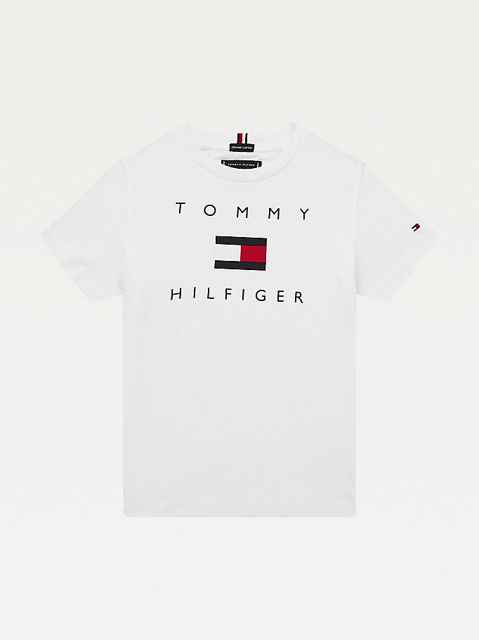 white pure organic cotton logo t-shirt for boys tommy hilfiger