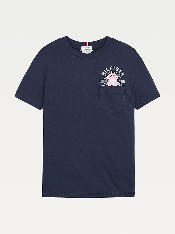 blue skate print back logo t-shirt for boys tommy hilfiger