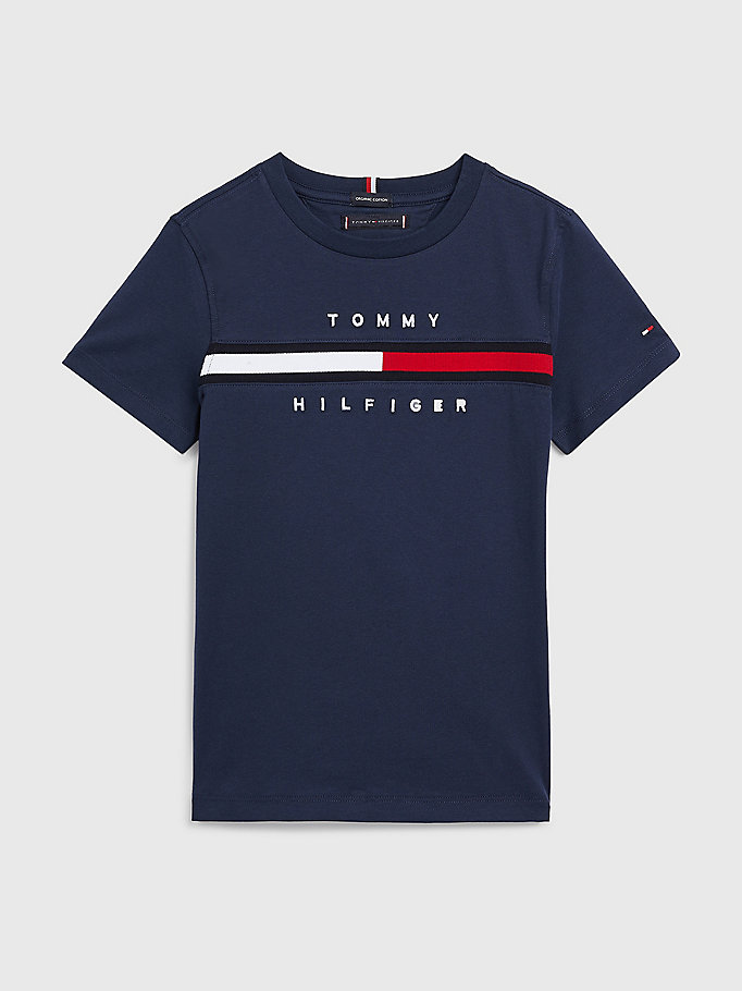 blue flag logo crew neck t-shirt for boys tommy hilfiger