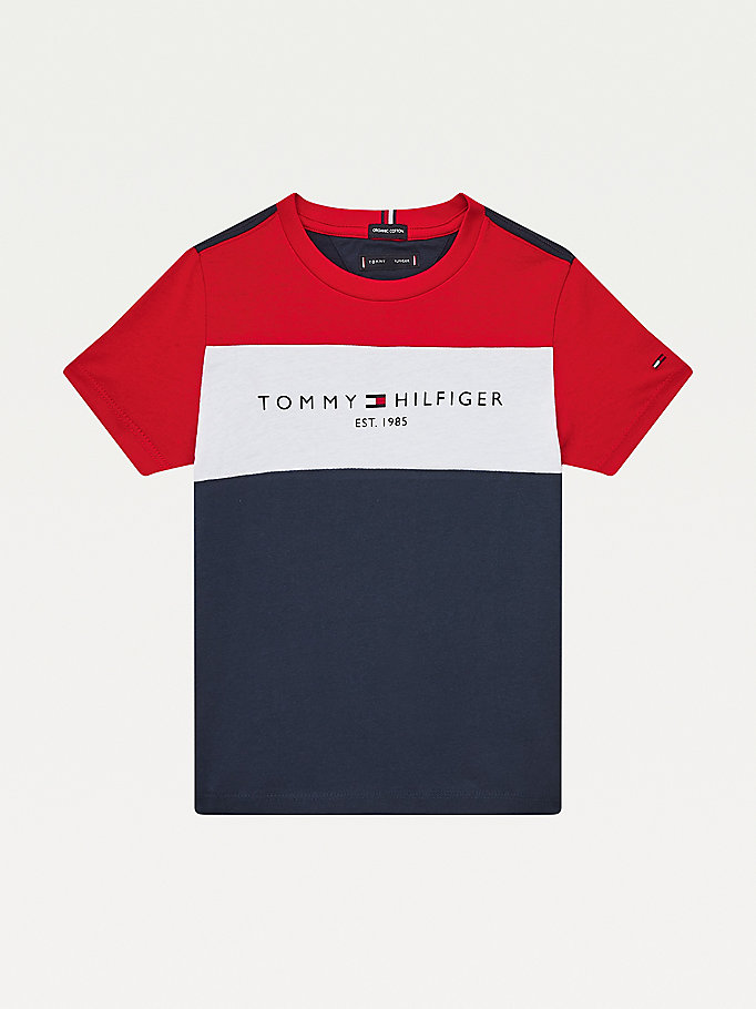 blue essential colour-blocked organic cotton t-shirt for boys tommy hilfiger