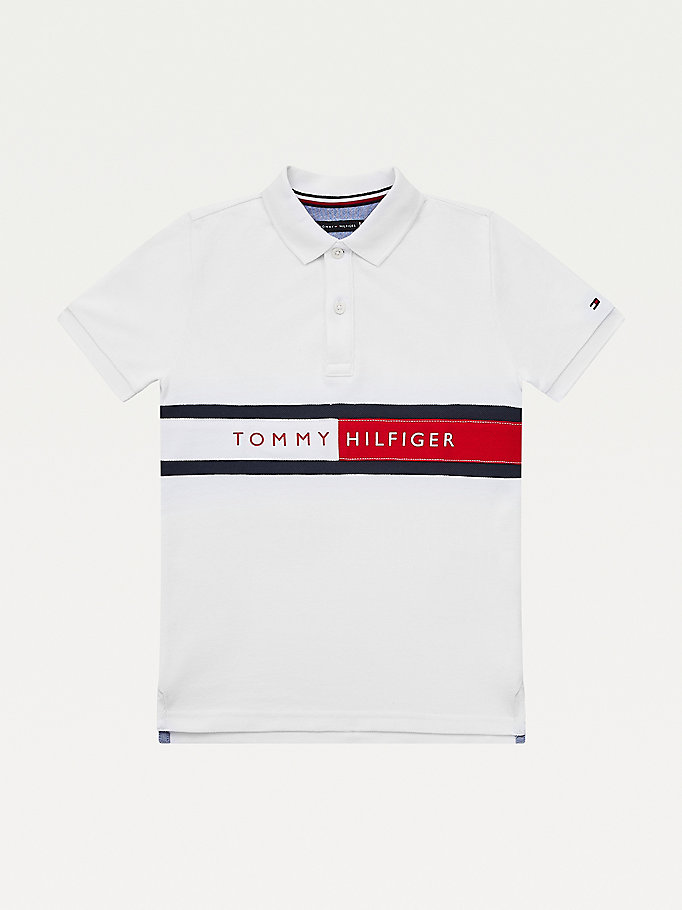 white flag logo hilfiger polo for boys tommy hilfiger