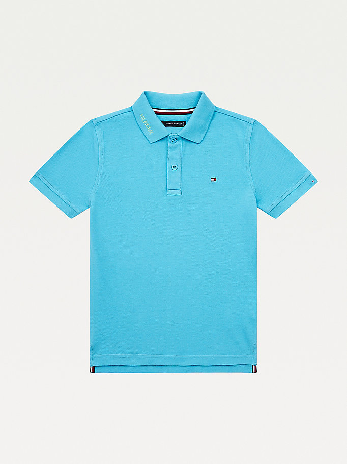 blue garment dyed organic cotton polo for boys tommy hilfiger