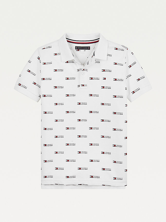 white all-over logo print polo for boys tommy hilfiger