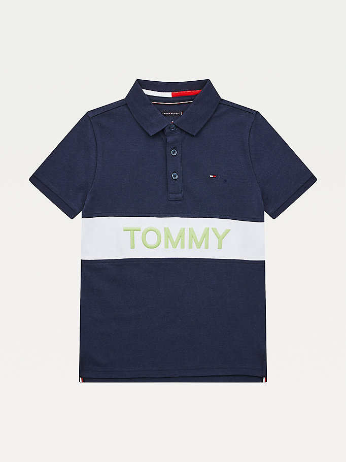 blue colour-blocked organic cotton polo for boys tommy hilfiger