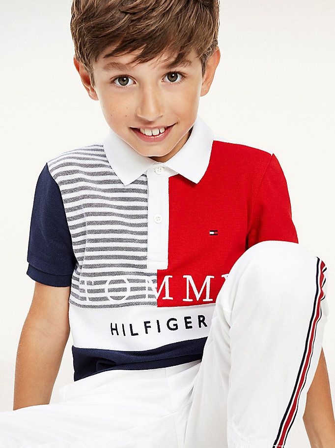 blue colour-blocked ithaca stripe polo for boys tommy hilfiger