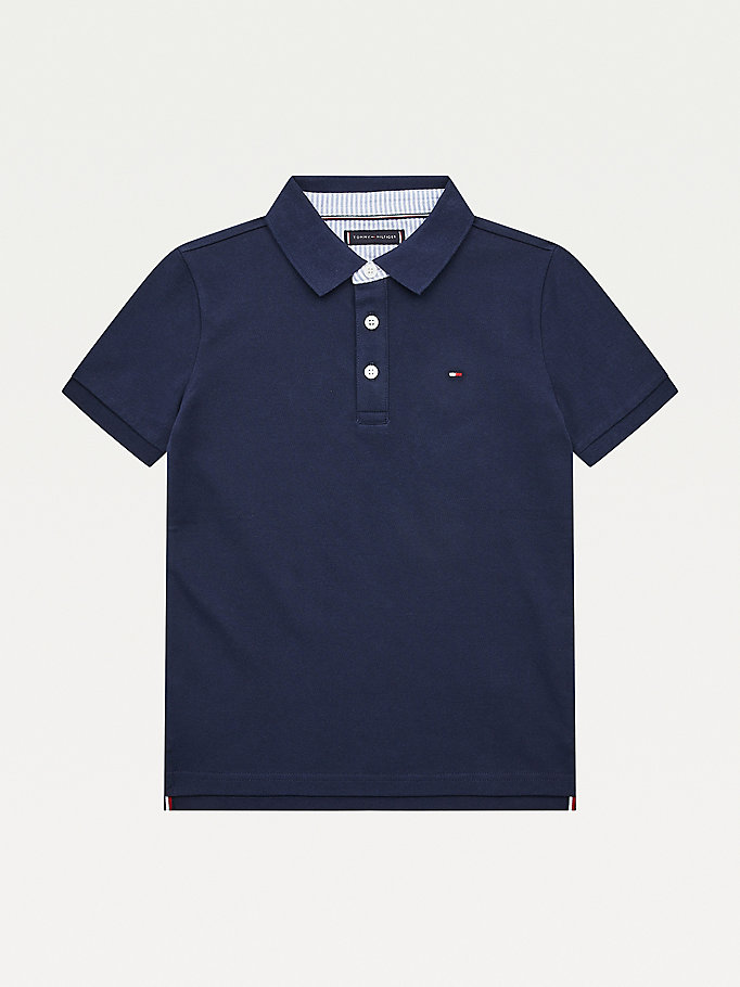 blue ithaca stripe collar tommy polo for boys tommy hilfiger