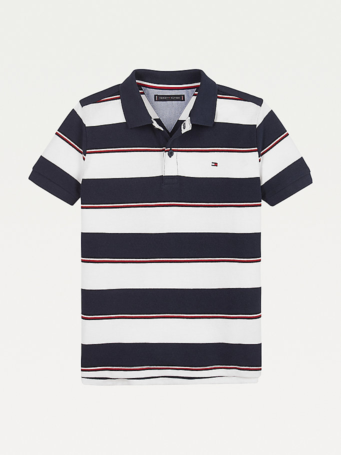 blue mixed stripe polo for boys tommy hilfiger