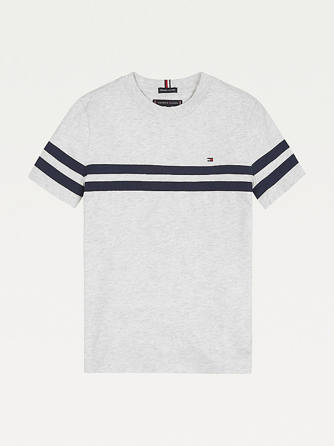 grey horizontal stripe t-shirt for boys tommy hilfiger