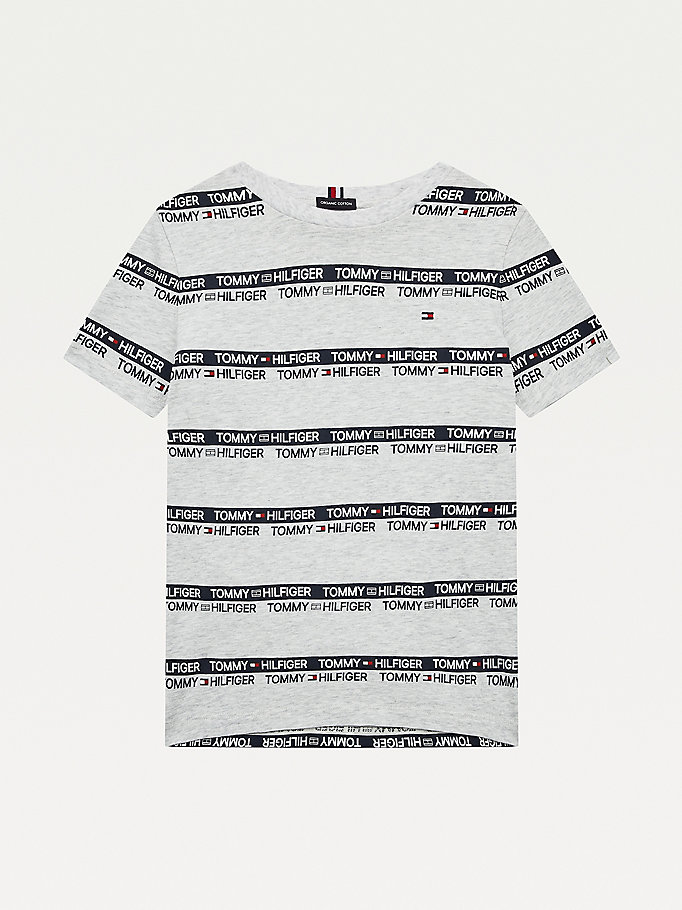 grey repeat logo tape organic cotton t-shirt for boys tommy hilfiger