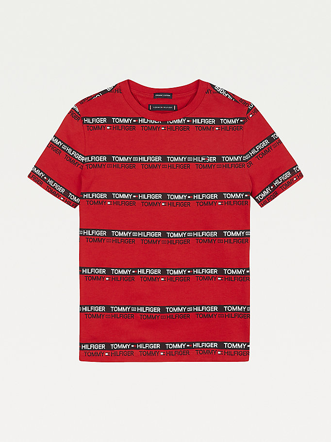 red repeat logo tape organic cotton t-shirt for boys tommy hilfiger