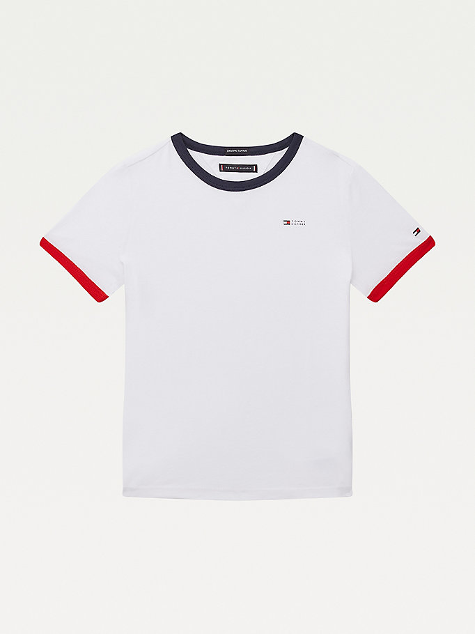 white contrast organic cotton logo t-shirt for boys tommy hilfiger