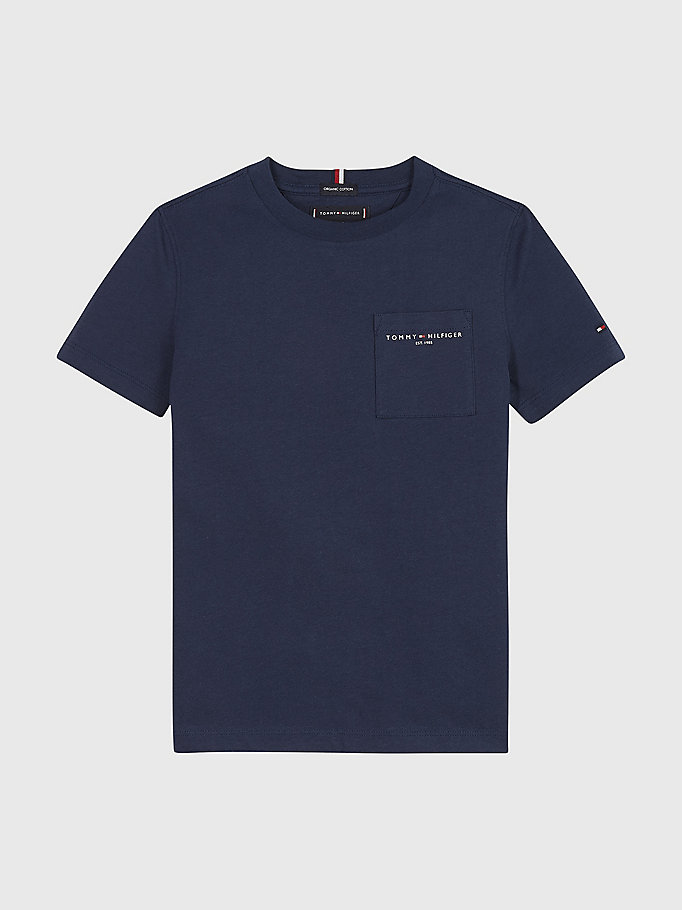 blue essential organic cotton chest pocket t-shirt for boys tommy hilfiger
