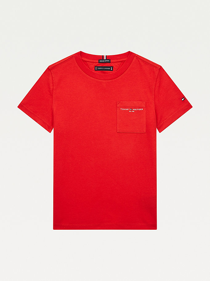 red essential organic cotton chest pocket t-shirt for boys tommy hilfiger