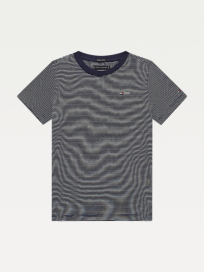blue stripe crew neck t-shirt for boys tommy hilfiger