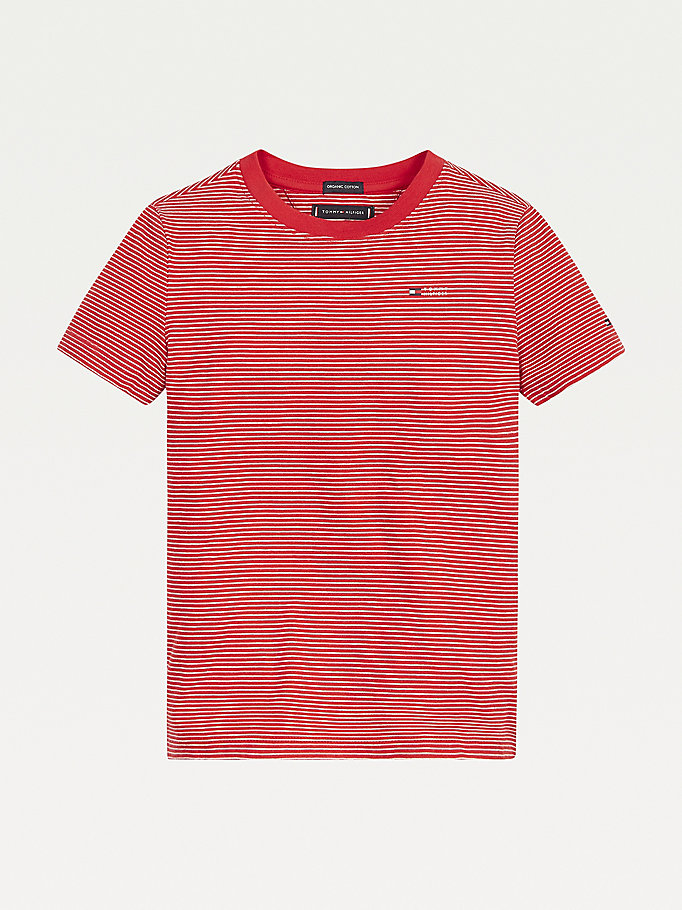 red stripe crew neck t-shirt for boys tommy hilfiger