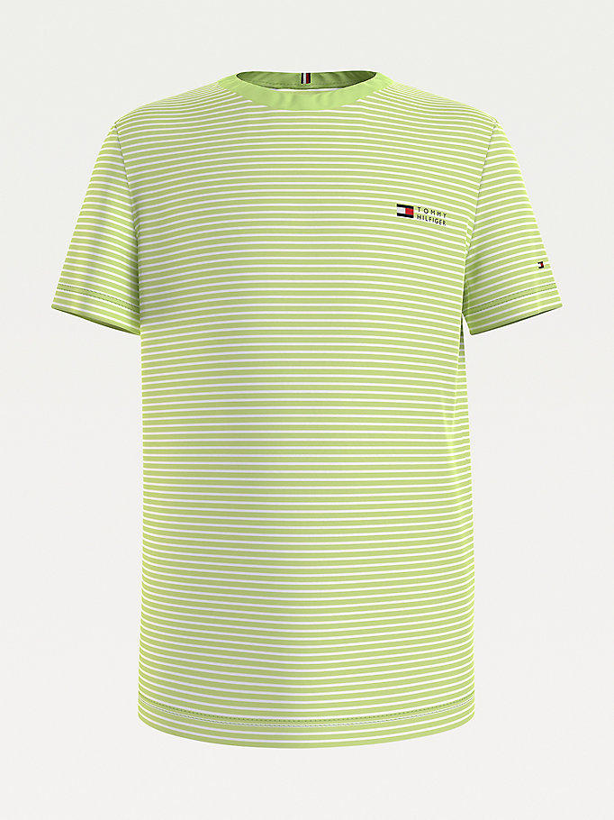 green stripe crew neck t-shirt for boys tommy hilfiger