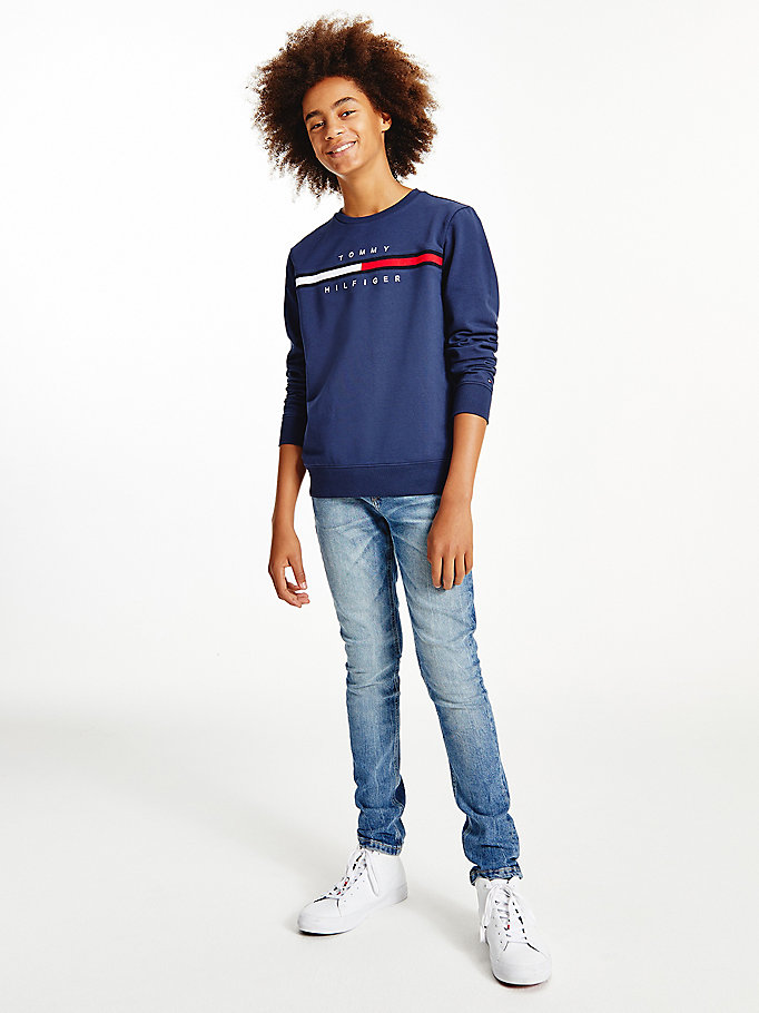 sweat th cool à logo bleu pour boys tommy hilfiger