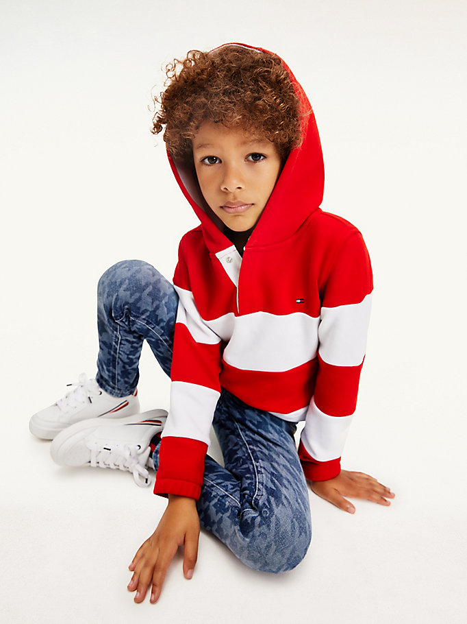 red rugby stripe hoody for boys tommy hilfiger
