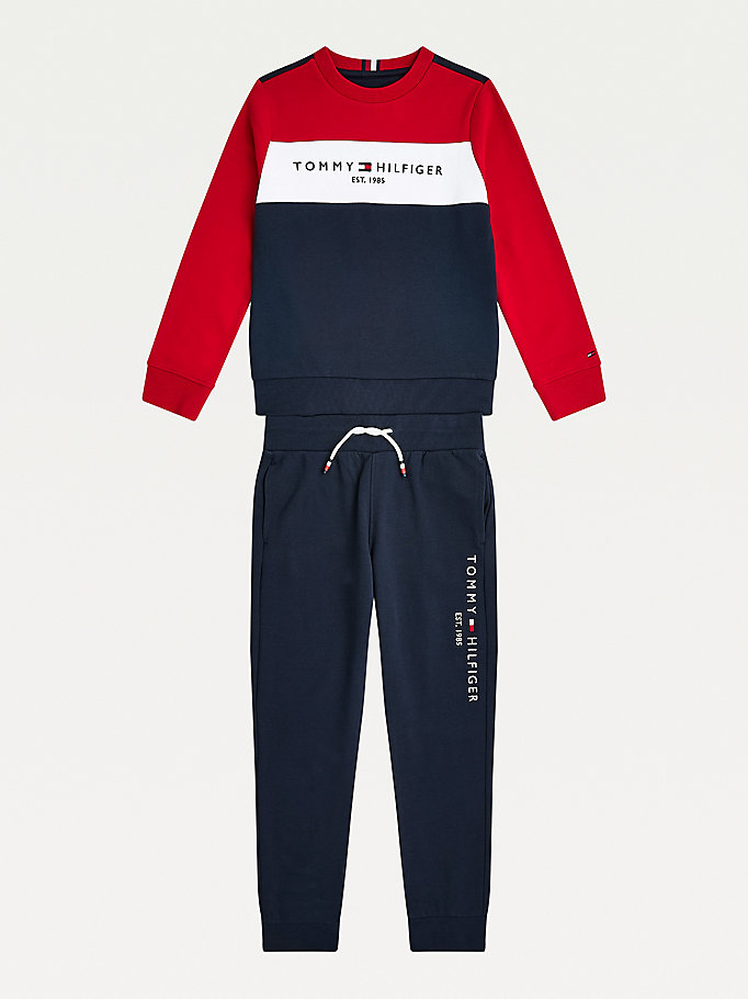 blue essential colour-blocked sweatshirt for boys tommy hilfiger