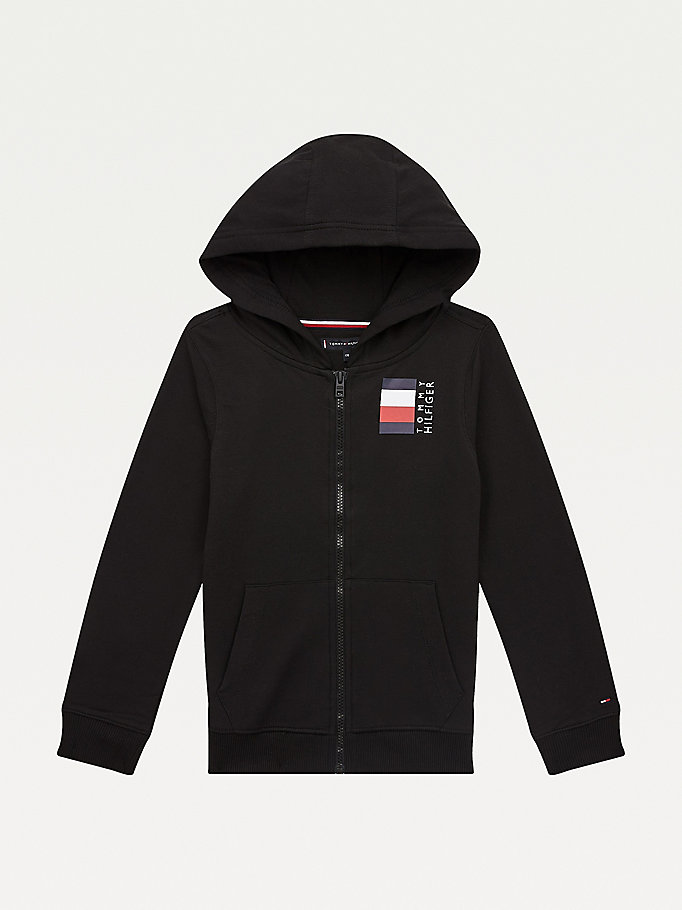 black zip-thru signature tape hoody for boys tommy hilfiger