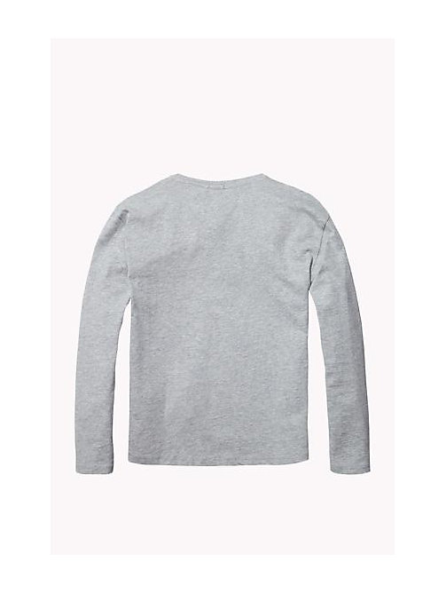TOMMY HILFIGER Organic Cotton Crew Neck T-Shirt - GREY HEATHER - TOMMY HILFIGER Girls - detail image 1