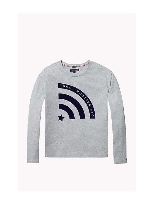 TOMMY HILFIGER Organic Cotton Crew Neck T-Shirt - GREY HEATHER - TOMMY HILFIGER Girls - main image