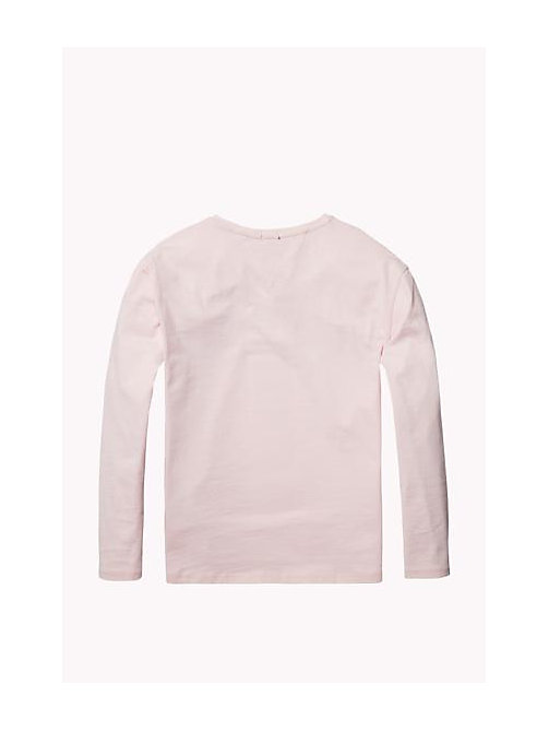 TOMMY HILFIGER Organic Cotton Crew Neck T-Shirt - SOFT PINK - TOMMY HILFIGER Girls - detail image 1