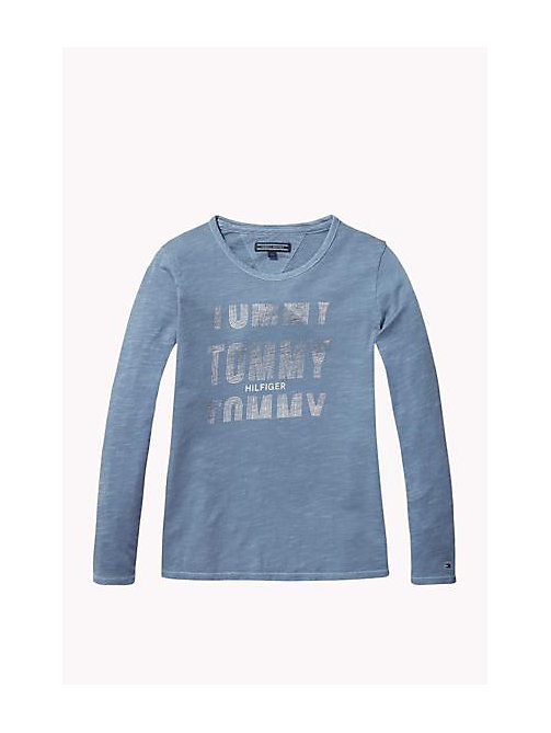 TOMMY HILFIGER Cotton Slub Crew Neck T-Shirt - FLINT STONE - TOMMY HILFIGER Girls - main image