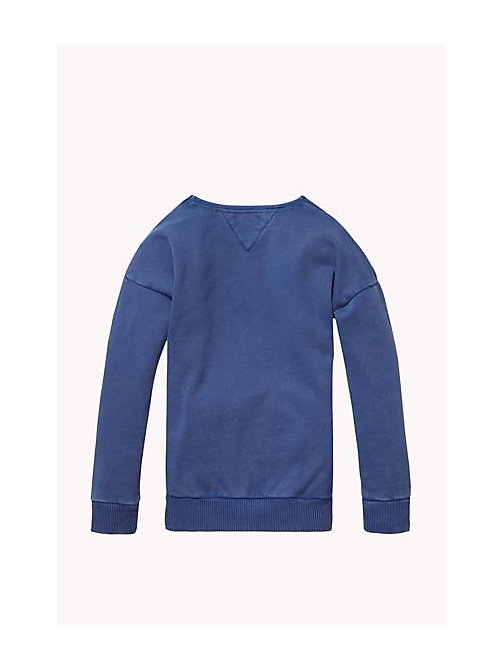 TOMMY HILFIGER Cotton Crew Neck Jumper - MID INDIGO - TOMMY HILFIGER Girls - detail image 1
