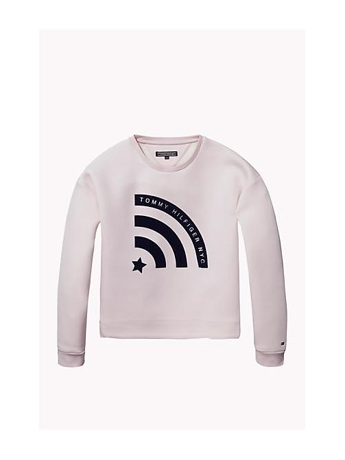 TOMMY HILFIGER Cotton Modal Crew Neck Jumper - SOFT PINK - TOMMY HILFIGER Girls - main image