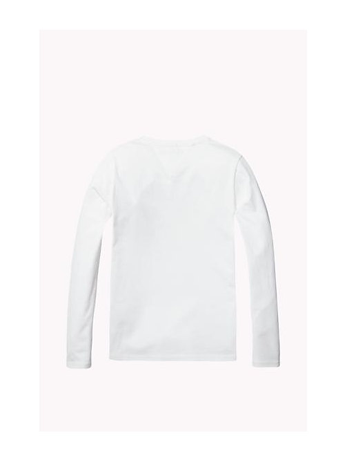 TOMMY HILFIGER Organic Cotton Crew Neck T-Shirt - BRIGHT WHITE - TOMMY HILFIGER Girls - detail image 1