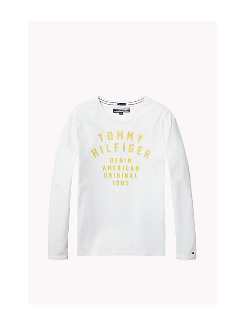 TOMMY HILFIGER Organic Cotton Crew Neck T-Shirt - BRIGHT WHITE - TOMMY HILFIGER Girls - main image